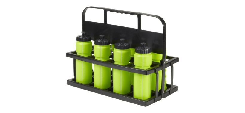 8 Water Bottles & Collapsible Plastic Carrier