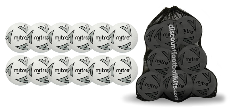12 x White Mitre Impel Training Footballs and Free Mesh Sack