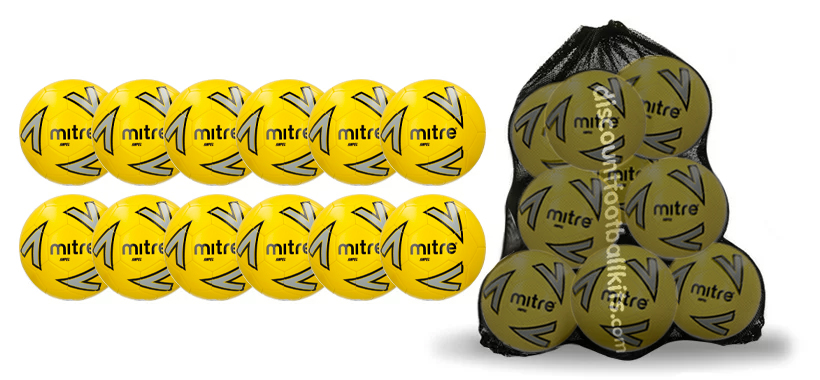 12 x Yellow Mitre Impel Training Footballs and Free Mesh Sack