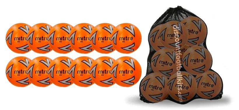 12 x Orange Mitre Impel Training Footballs and Free Mesh Sack