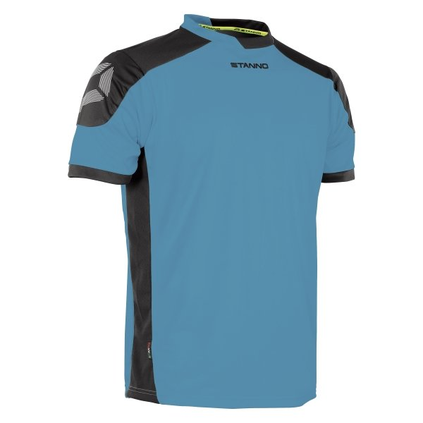 Stanno Campione Aqua Blue/Black Short Sleeve Football Shirt