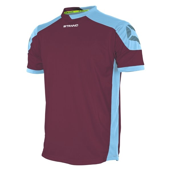 Stanno Campione Maroon/Sky Blue Short Sleeve Football Shirt