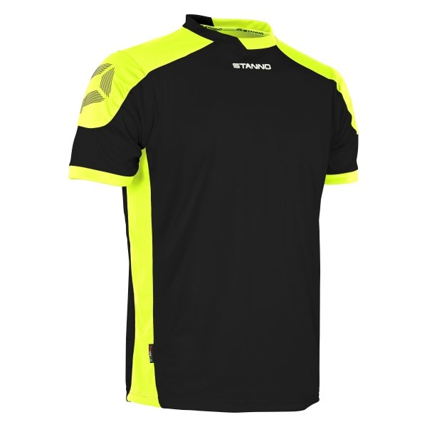 Stanno Campione Black/Neon Yellow Short Sleeve Football Shirt