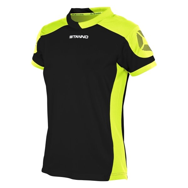 Stanno Campione Short Sleeved Black/Neon Yellow Ladies Football Shirt