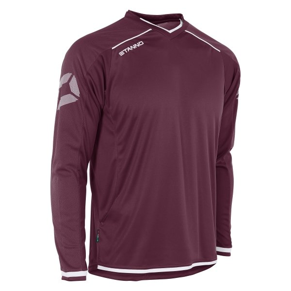 Stanno Futura Maroon/White Long Sleeve Football Shirt