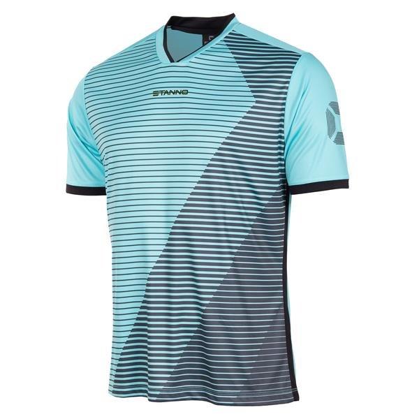 Stanno Rush Aqua Blue/Black SS Football Shirt