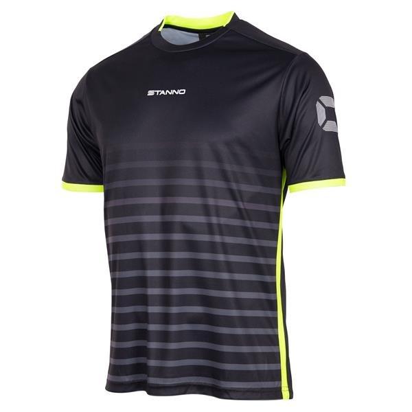 Stanno Fusion Black/Neon Yellow SS Football Shirt