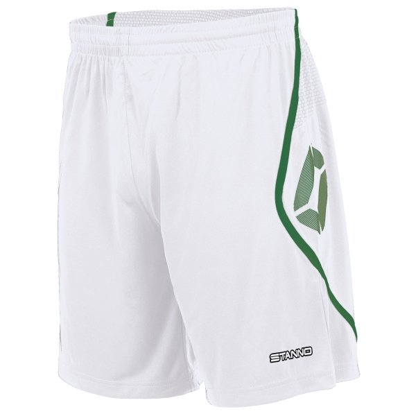 Stanno Pisa White/Green Football Shorts