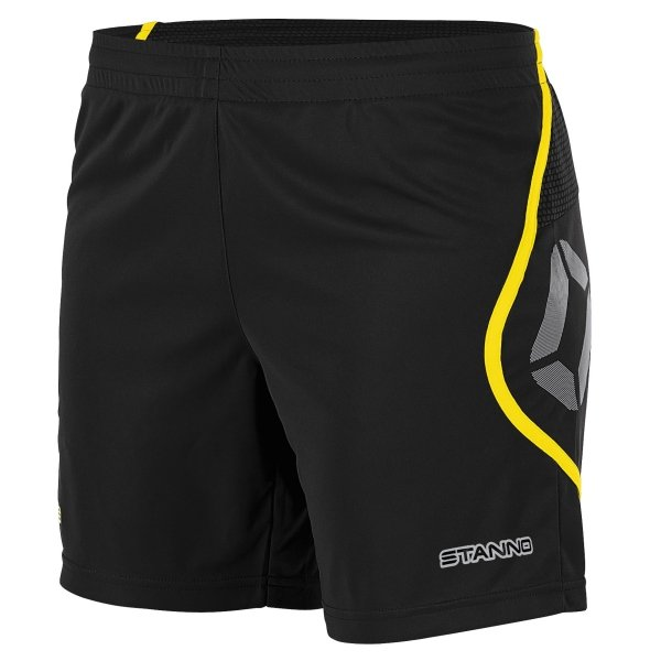 Stanno Pisa Black/Yellow Football Shorts Ladies