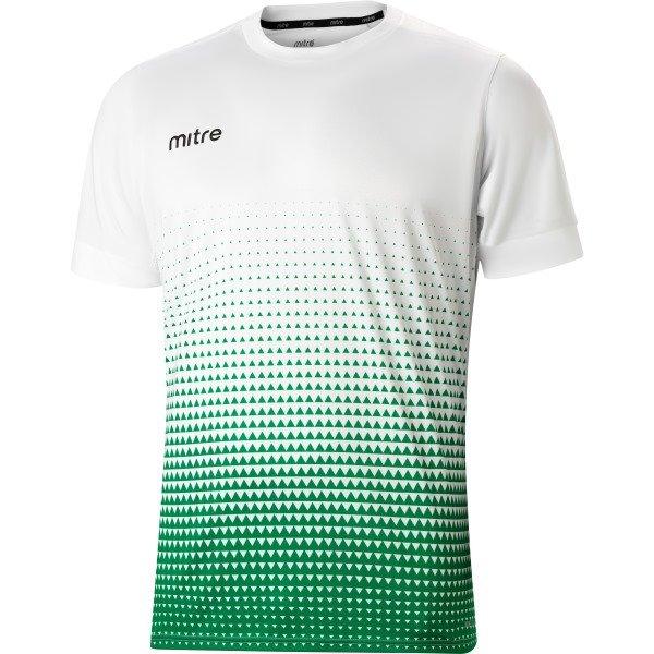 Mitre Ascent White/Emerald Green Football Shirt