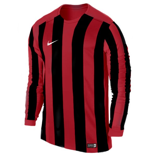 Nike Pro Striped LS Football Shirt White/uni Red