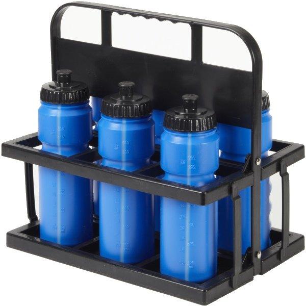 6 Water Bottles & Collapsible Plastic Carrier Blue Bottles