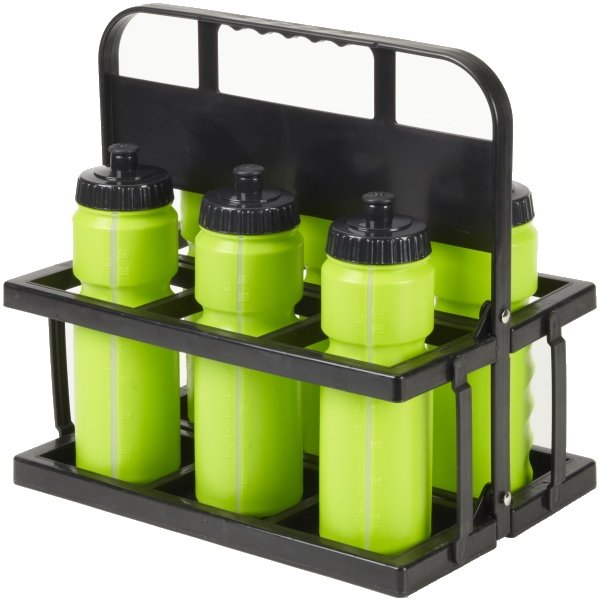 6 Water Bottles & Collapsible Plastic Carrier Lime Bottles