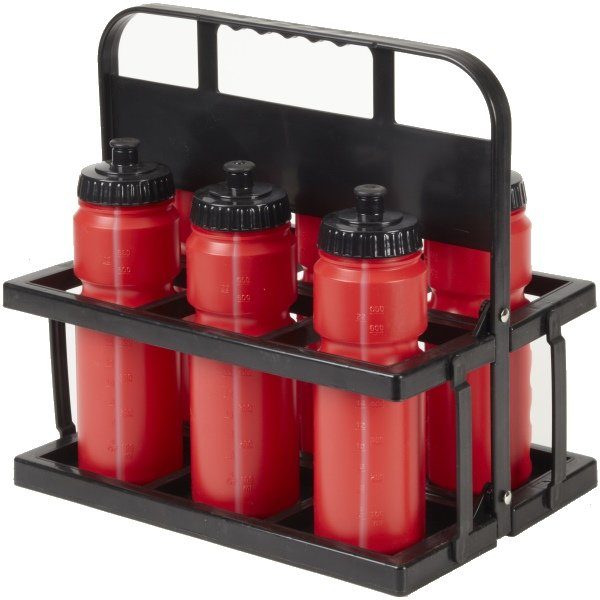 6 Water Bottles & Collapsible Plastic Carrier Red Bottles