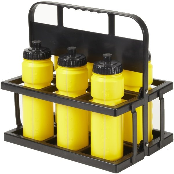 6 Water Bottles & Collapsible Plastic Carrier Yellow Bottles