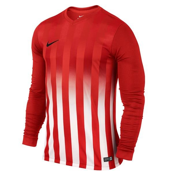 Nike Striped Division II Uni Red/White LS Football Shirt