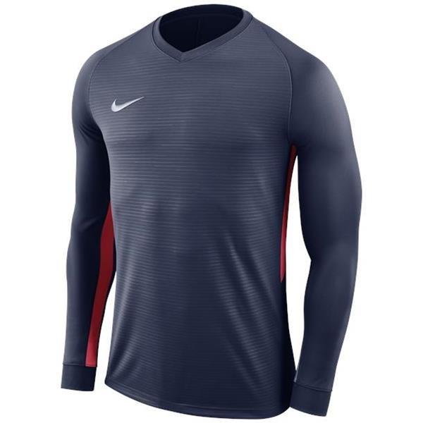Nike Tiempo Premier LS Football Shirt Midnight Navy/Uni Red