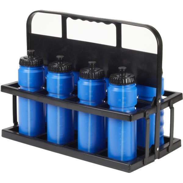 8 Water Bottles & Collapsible Plastic Carrier Blue Bottles