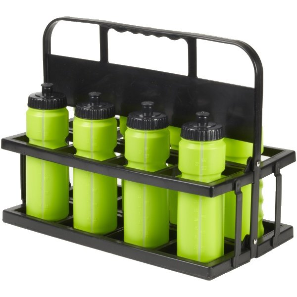 8 Water Bottles & Collapsible Plastic Carrier Lime Bottles