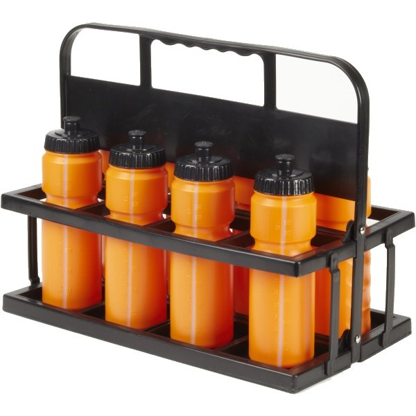 8 Water Bottles & Collapsible Plastic Carrier Orange Bottles