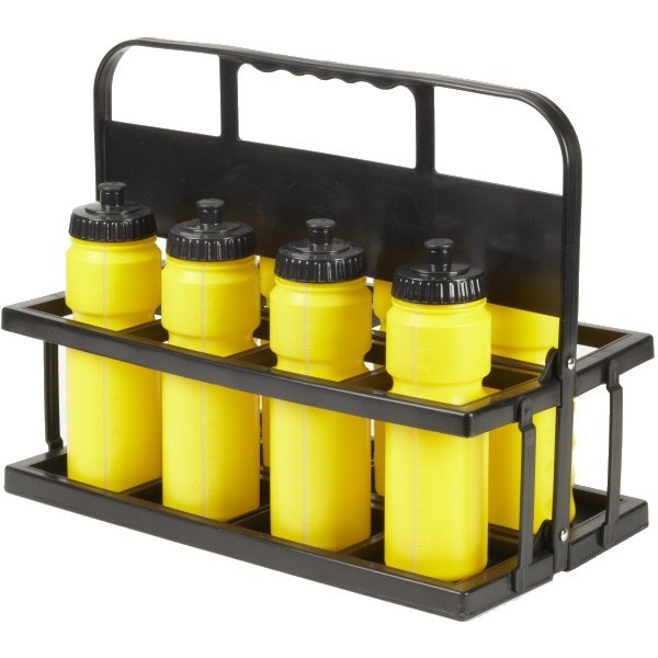8 Water Bottles & Collapsible Plastic Carrier Yellow Bottles