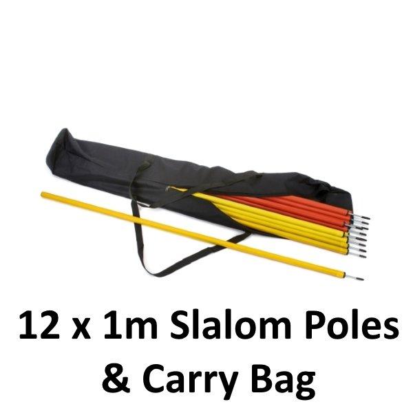 12 x 1m Slalom Poles & Carry Bag