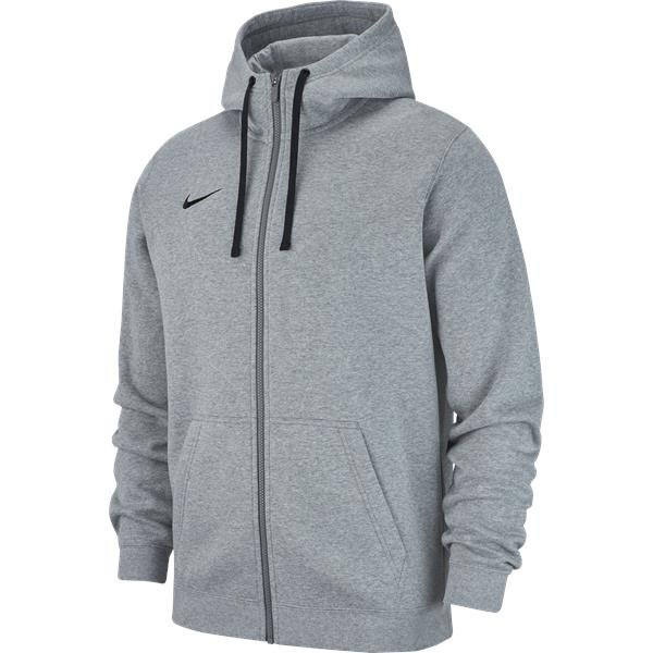 Nike Team Club 19 Full Zip Hoodie Grey Heather/Black