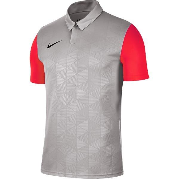 Nike Trophy IV SS Football Shirt Pewter Grey/Bright Crimson