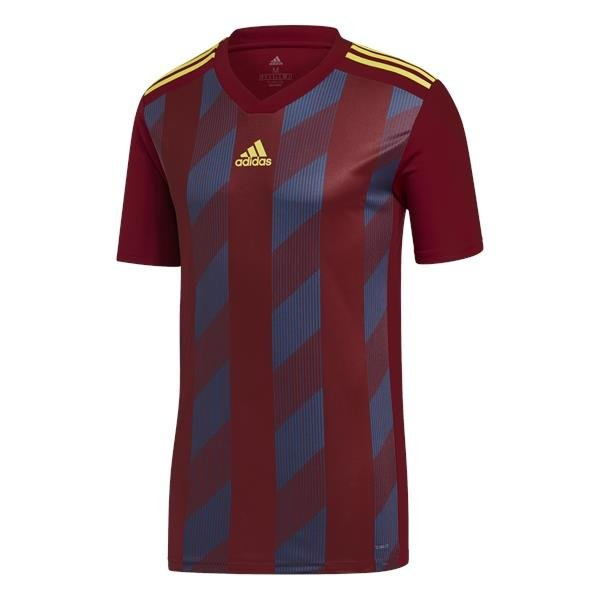 adidas Striped 19 C Burgundy/Bright Yellow SS Football Shirt