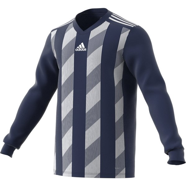 adidas Striped 19 LS Football Shirt White/clear Grey