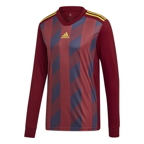 adidas Striped 19 C Burgundy/Bright Yellow LS Football Shirt