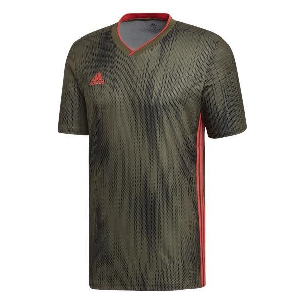 adidas Tiro 19 Raw Khaki/Shock Red Football Shirt