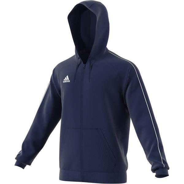 adidas Core 18 Dark Blue/White Full Zip Hoody