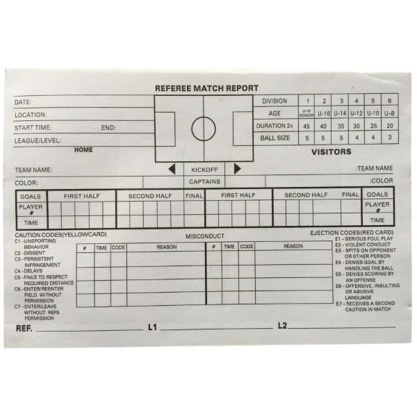 Referee's Match Report Refill Pad