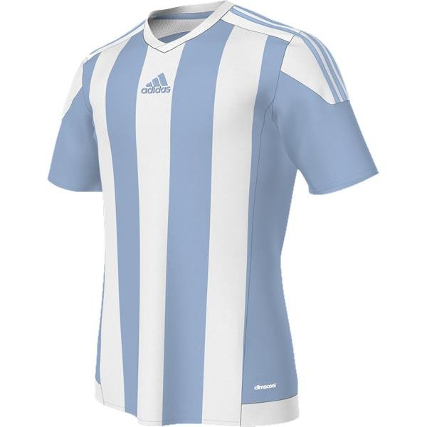 adidas Striped 15 SS Football Shirt White/clear Grey
