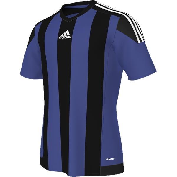 adidas Striped 15 Bold Blue/Black SS Football Shirt Youths