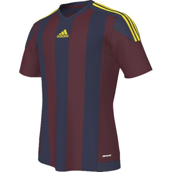 adidas Striped 15 Burgundy/Dark Blue SS Football Shirt
