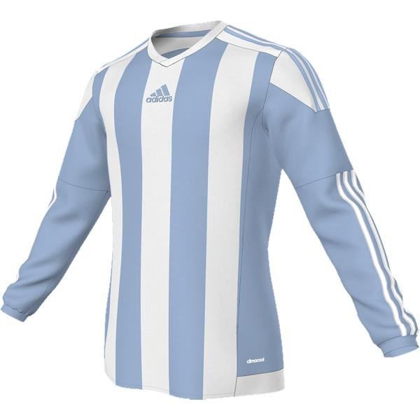 adidas Striped 15 LS Football Shirt White/clear Grey