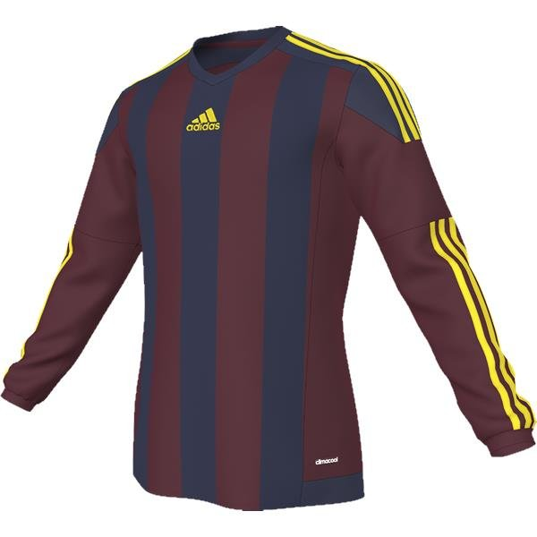 adidas Striped 15 Burgundy/Dark Blue LS Football Shirt