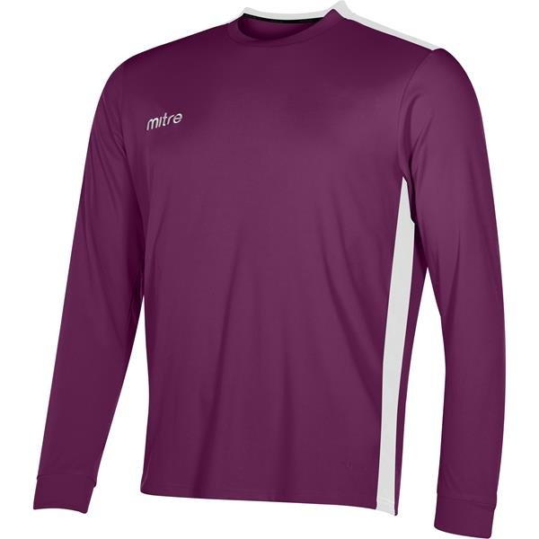 Mitre Charge Long Sleeve Maroon/White Football Shirt
