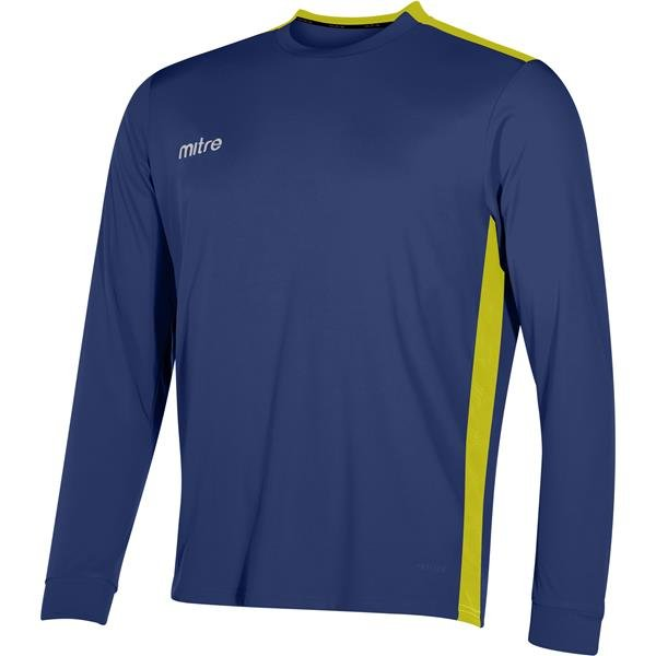 Mitre Charge Long Sleeve Navy/Yellow Football Shirt
