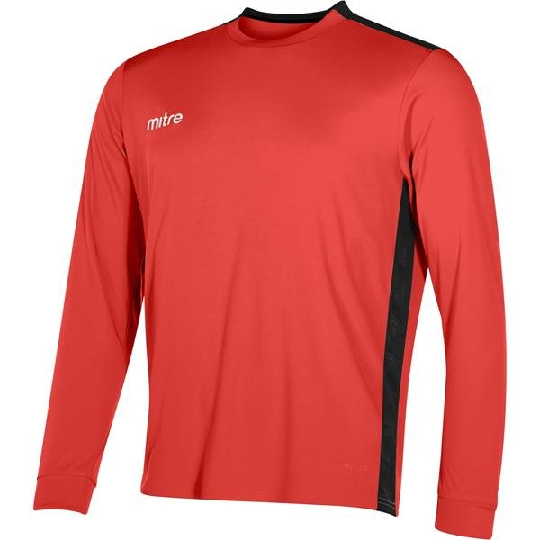 Mitre Charge Long Sleeve Scarlet/Black Football Shirt
