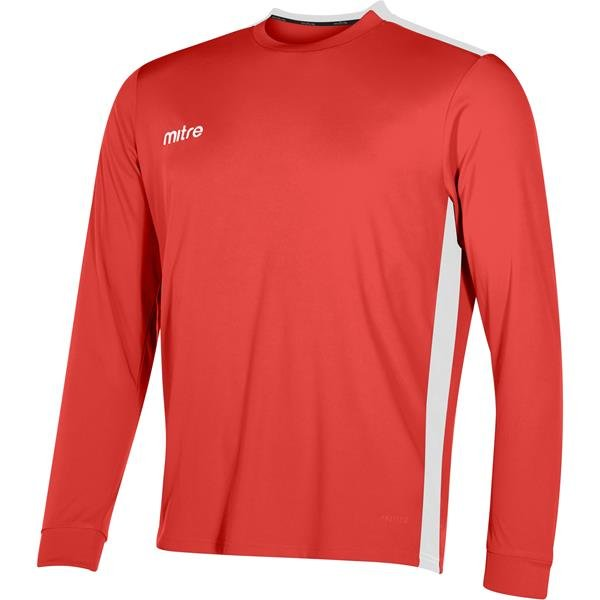 Mitre Charge Long Sleeve Scarlet/White Football Shirt