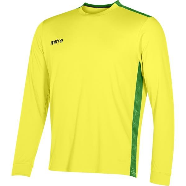 Mitre Charge Long Sleeve Yellow/Emerald Football Shirt