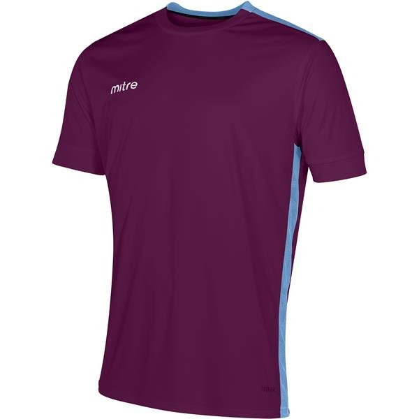 Mitre Charge Short Sleeve Maroon/Sky Football Shirt