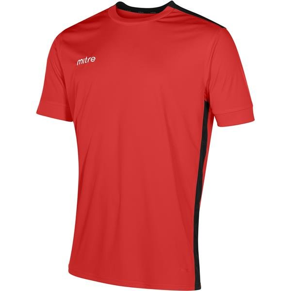 Mitre Charge Short Sleeve Scarlet/Black Football Shirt