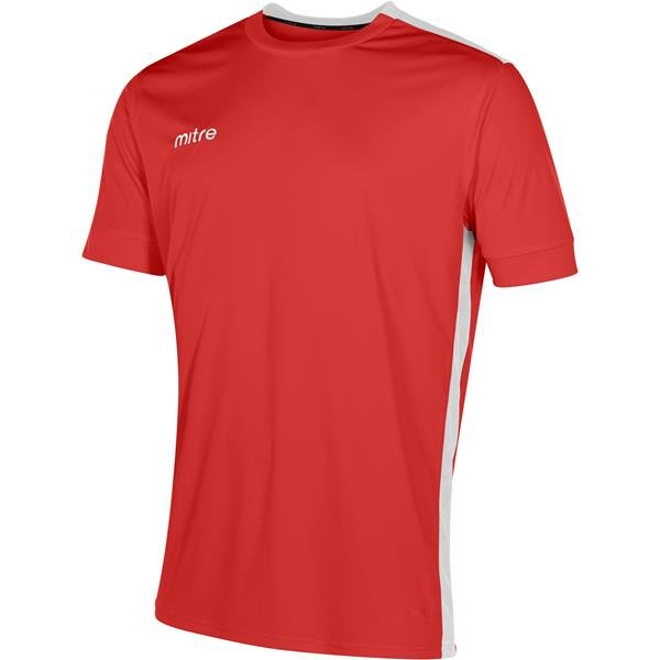 Mitre Charge Short Sleeve Scarlet/White Football Shirt