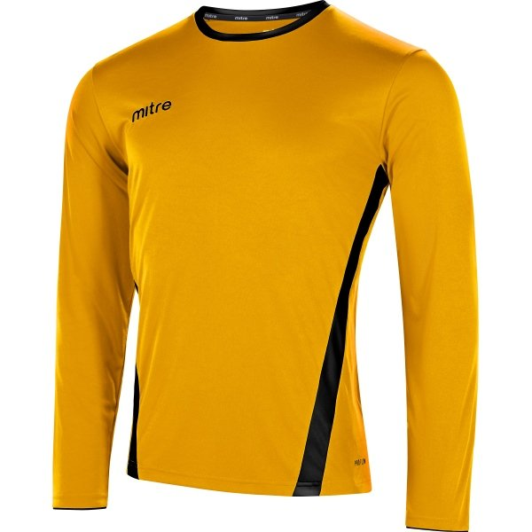 Mitre Origin Long Sleeve Football Shirt Yellow/emerald