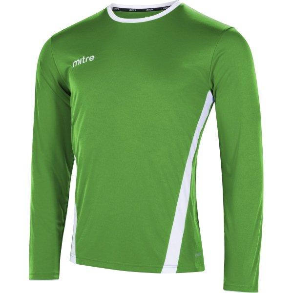 Mitre Origin Long Sleeve Emerald/White Football Shirt