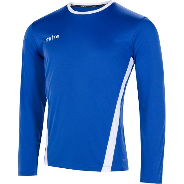 Mitre Origin Long Sleeve Royal/White Football Shirt